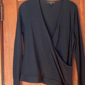 Ann Taylor Merino Wool Faux Wrap Style Sweater